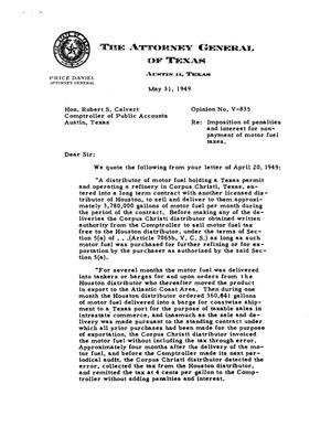 Primary view of object titled 'Texas Attorney General Opinion: V-835'.