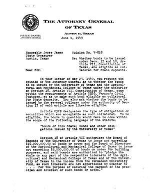 Primary view of object titled 'Texas Attorney General Opinion: V-838'.