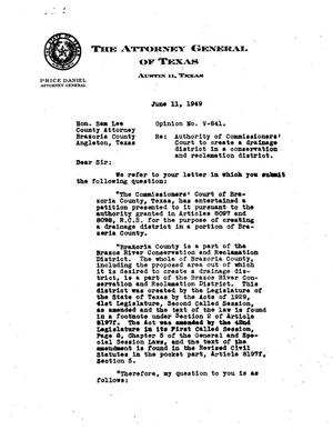 Primary view of object titled 'Texas Attorney General Opinion: V-841'.