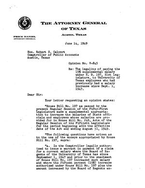 Primary view of object titled 'Texas Attorney General Opinion: V-845'.