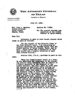 Primary view of object titled 'Texas Attorney General Opinion: V-859'.