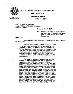 Primary view of object titled 'Texas Attorney General Opinion: V-868'.