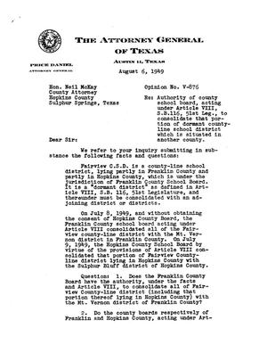 Primary view of object titled 'Texas Attorney General Opinion: V-876'.