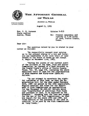 Primary view of object titled 'Texas Attorney General Opinion: V-878'.
