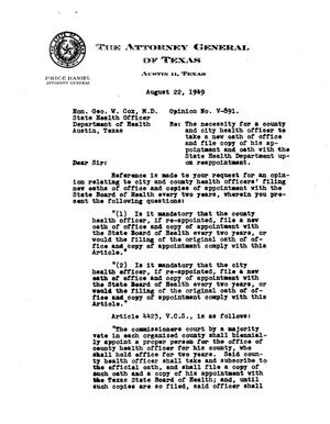 Primary view of object titled 'Texas Attorney General Opinion: V-891'.
