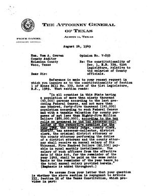 Primary view of object titled 'Texas Attorney General Opinion: V-893'.
