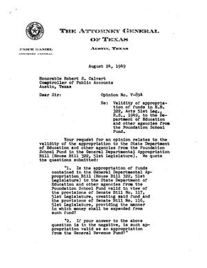 Primary view of object titled 'Texas Attorney General Opinion: V-894'.