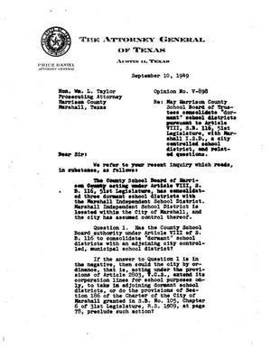 Primary view of object titled 'Texas Attorney General Opinion: V-898'.