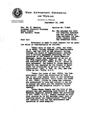 Primary view of object titled 'Texas Attorney General Opinion: V-904'.
