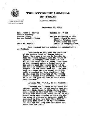 Primary view of object titled 'Texas Attorney General Opinion: V-911'.