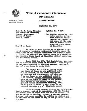 Primary view of object titled 'Texas Attorney General Opinion: V-917'.