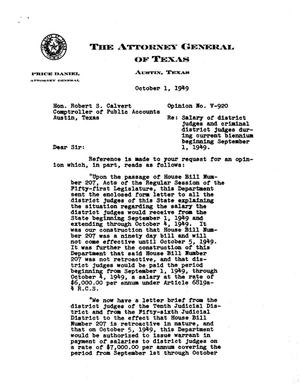 Primary view of object titled 'Texas Attorney General Opinion: V-920'.