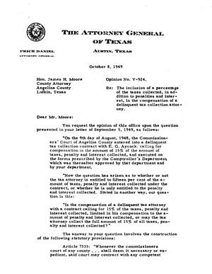 Primary view of object titled 'Texas Attorney General Opinion: V-924'.