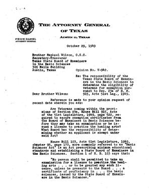 Primary view of object titled 'Texas Attorney General Opinion: V-942'.