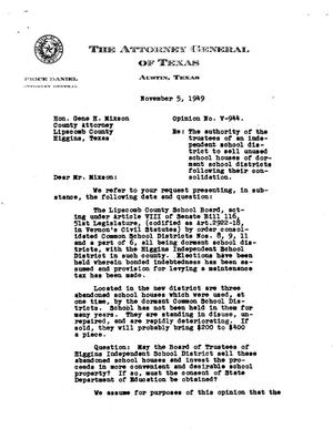 Primary view of object titled 'Texas Attorney General Opinion: V-944'.