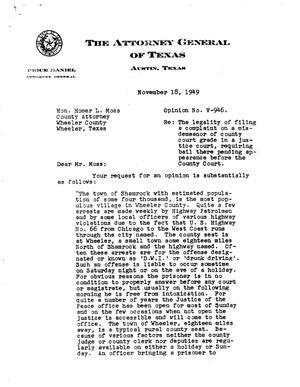 Primary view of object titled 'Texas Attorney General Opinion: V-946'.
