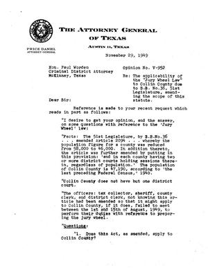 Primary view of object titled 'Texas Attorney General Opinion: V-952'.