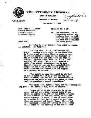 Primary view of object titled 'Texas Attorney General Opinion: V-954'.