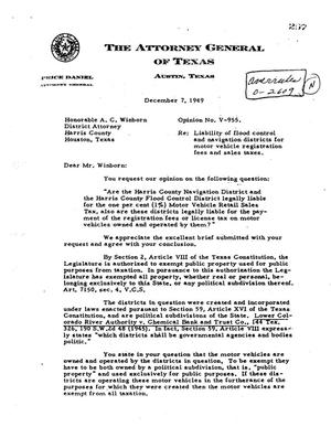 Primary view of object titled 'Texas Attorney General Opinion: V-955'.