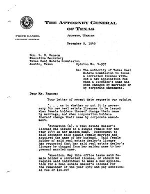 Primary view of object titled 'Texas Attorney General Opinion: V-957'.