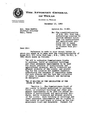 Primary view of object titled 'Texas Attorney General Opinion: V-962'.