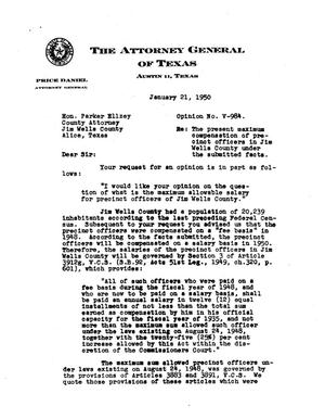 Primary view of object titled 'Texas Attorney General Opinion: V-984'.