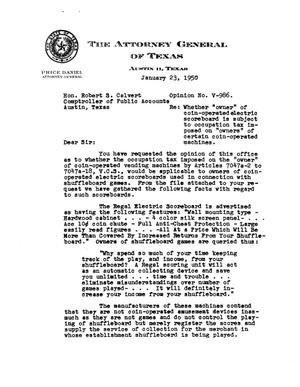Primary view of object titled 'Texas Attorney General Opinion: V-986'.