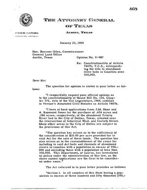 Primary view of object titled 'Texas Attorney General Opinion: V-987'.