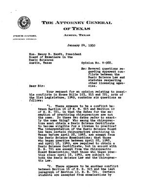 Primary view of object titled 'Texas Attorney General Opinion: V-988'.