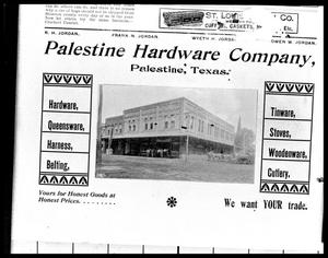 Primary view of object titled '[Newspaper Ad for Palestine Hardware Company - 202 Main]'.