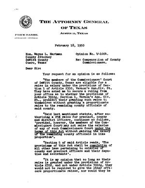 Primary view of object titled 'Texas Attorney General Opinion: V-1004'.
