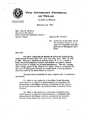 Primary view of object titled 'Texas Attorney General Opinion: V-1013'.