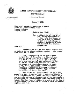 Primary view of object titled 'Texas Attorney General Opinion: V-1015'.