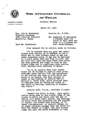 Primary view of object titled 'Texas Attorney General Opinion: V-1021'.