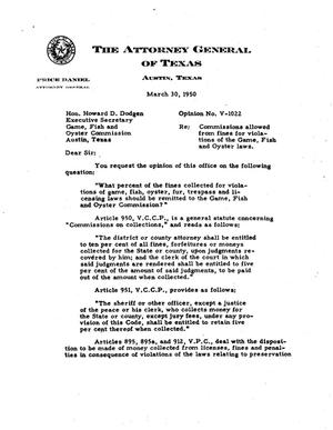 Primary view of object titled 'Texas Attorney General Opinion: V-1022'.