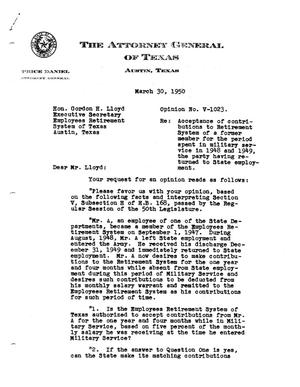Primary view of object titled 'Texas Attorney General Opinion: V-1023'.