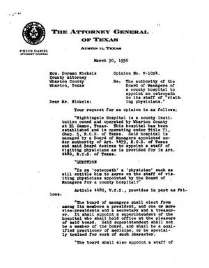 Primary view of object titled 'Texas Attorney General Opinion: V-1024'.