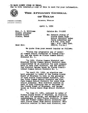 Primary view of object titled 'Texas Attorney General Opinion: V-1026'.