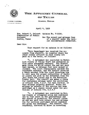Primary view of object titled 'Texas Attorney General Opinion: V-1030'.