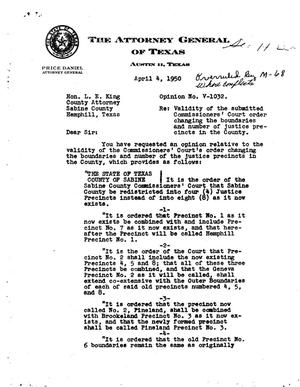 Primary view of object titled 'Texas Attorney General Opinion: V-1032'.