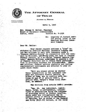 Primary view of object titled 'Texas Attorney General Opinion: V-1034'.