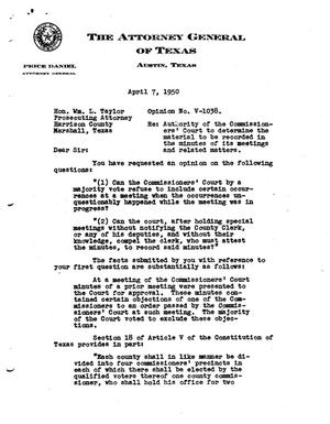 Primary view of object titled 'Texas Attorney General Opinion: V-1038'.