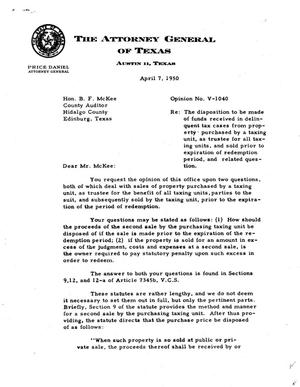 Primary view of object titled 'Texas Attorney General Opinion: V-1040'.