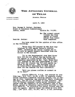 Primary view of object titled 'Texas Attorney General Opinion: V-1042'.
