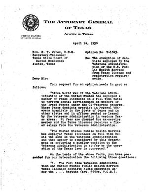 Primary view of object titled 'Texas Attorney General Opinion: V-1045'.