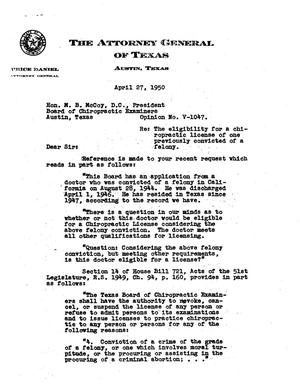 Primary view of object titled 'Texas Attorney General Opinion: V-1047'.