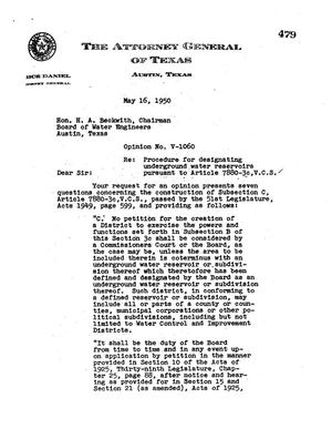 Primary view of object titled 'Texas Attorney General Opinion: V-1060'.