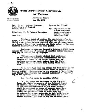 Primary view of object titled 'Texas Attorney General Opinion: V-1062'.