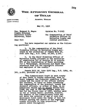 Primary view of object titled 'Texas Attorney General Opinion: V-1063'.