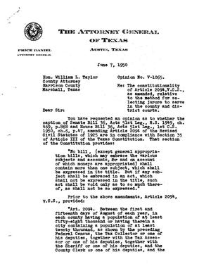 Primary view of object titled 'Texas Attorney General Opinion: V-1065'.
